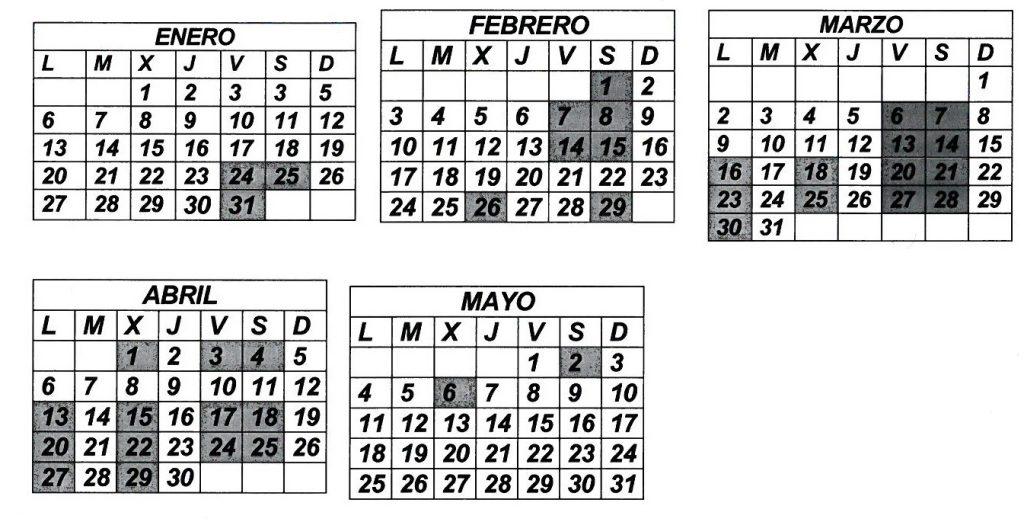 Calendario competencia 2020